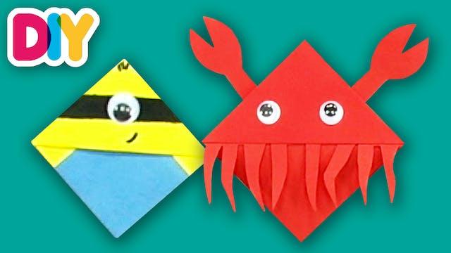 Shark and Crab | Corner Bookmark Crafts