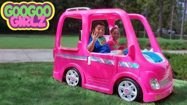 Goo Goo Girlz & Her Barbie Car! (Learn Colors During Pretend Camping Adventure)